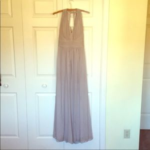 Dessy collection taupe floor length dress